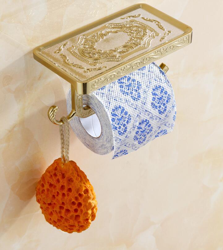 Gold Polished Bathroom Toilet Paper Holder Lavatory Roll Tissue Shelf Hanger