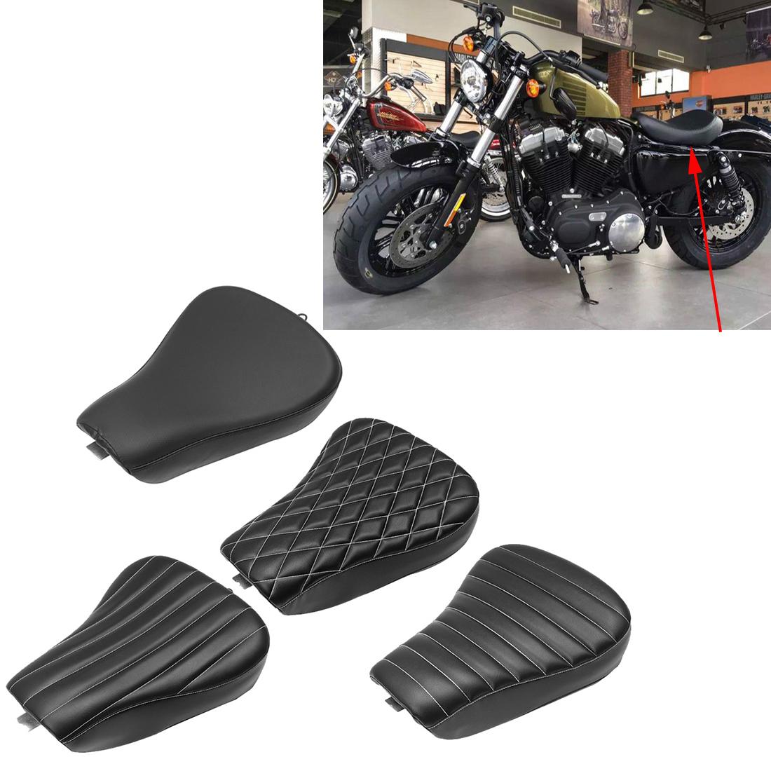Black Seats White Side  Front Driver Saddle Cushion Fo Harley XL883 1200 Model