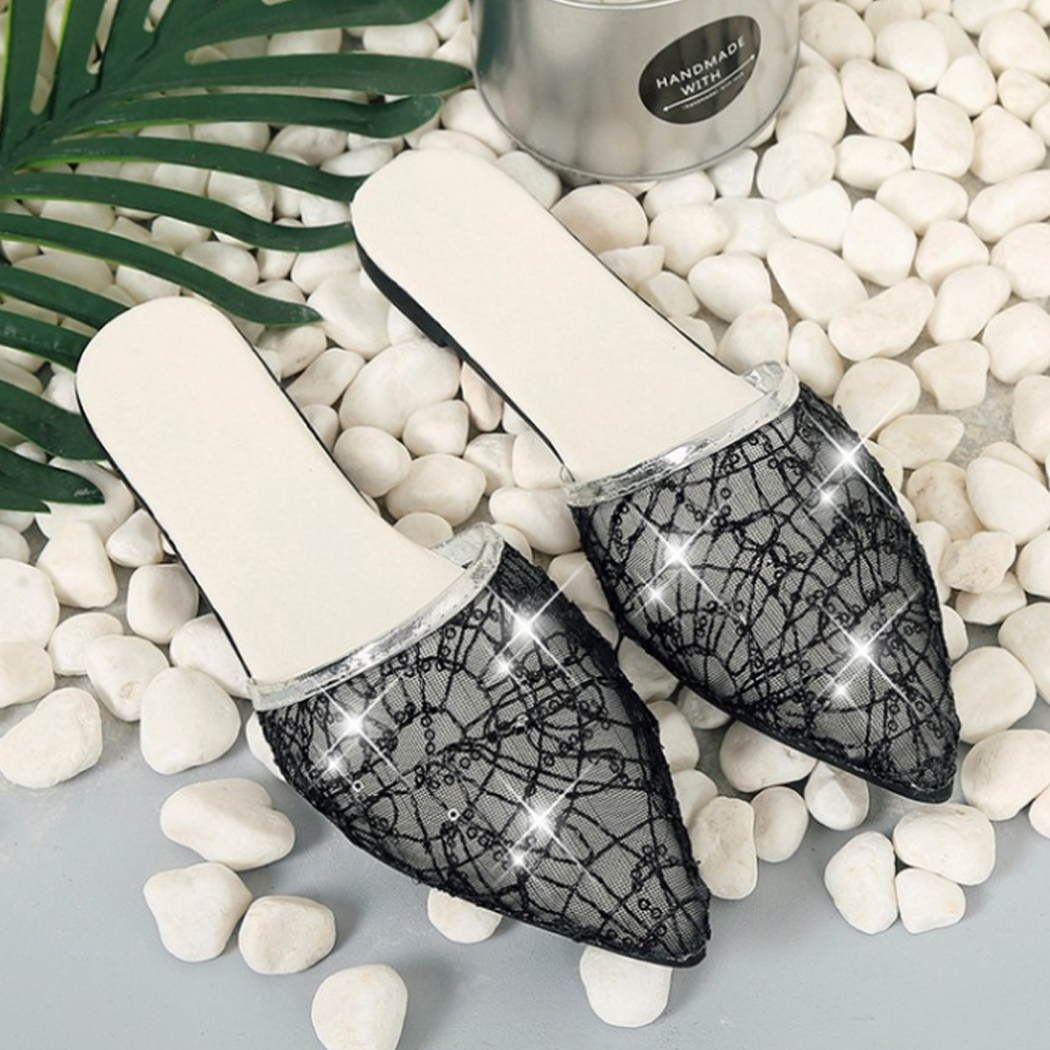 Fashion-Womens-Ladies-Slippers-Lace-Crystal-Rhinestone-Slip-On-Shoes-New
