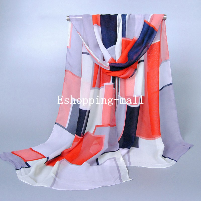 Womens-Ladies-Geometric-Pattern-Shawl-Wrap-Chiffon-Scarf-Stole-UK