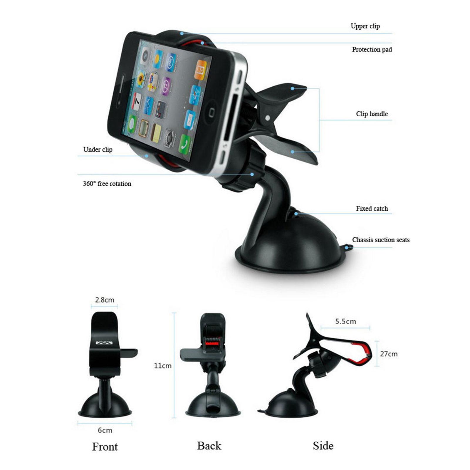 universal 360 rotating car windshield mount holder stand. Black Bedroom Furniture Sets. Home Design Ideas