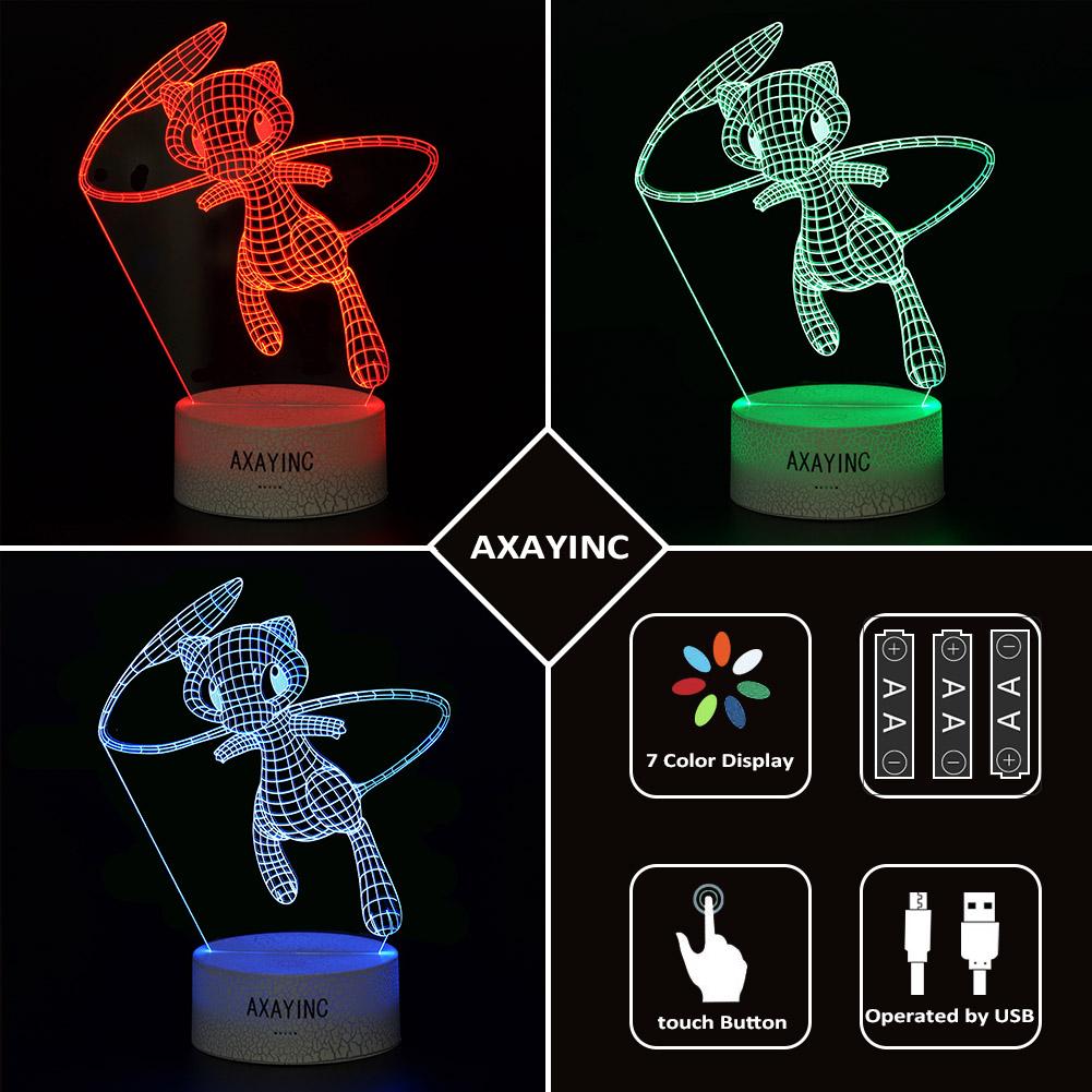 Pokemon Mew 3D LED Tischlampe Nachtlicht Leselampe Nachttischlampe Geschenk