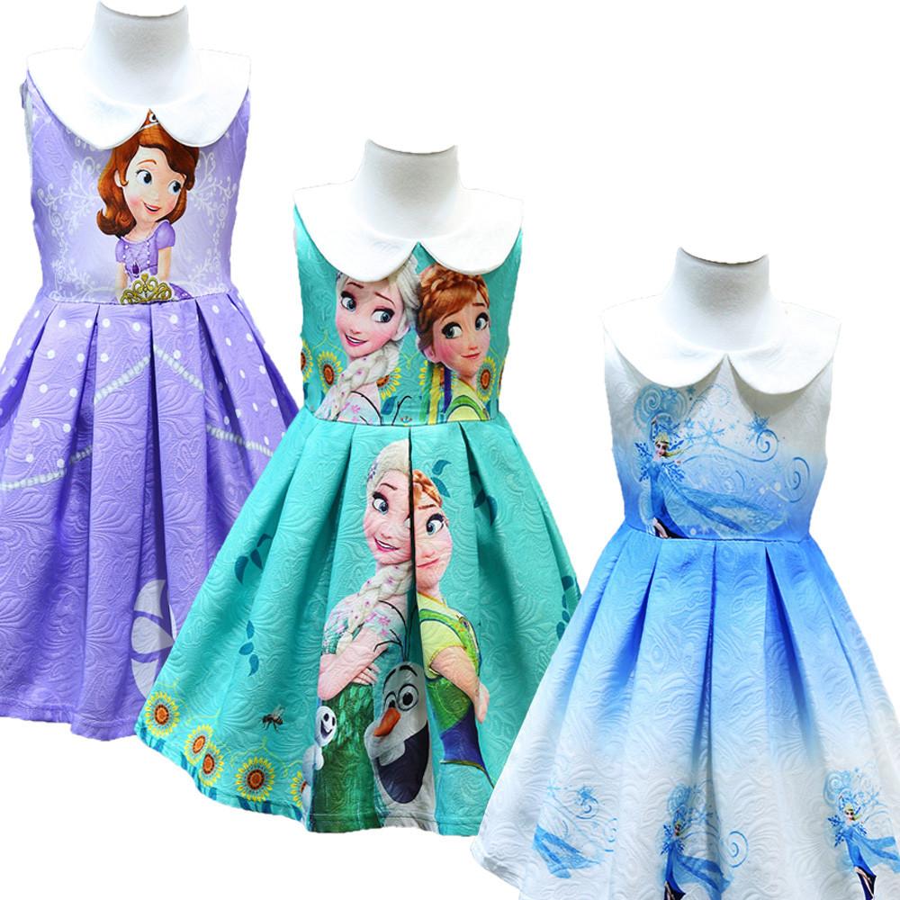 Girl Printing Frozen Sleeveless Princess Dresses Sofia Party Skirt ...