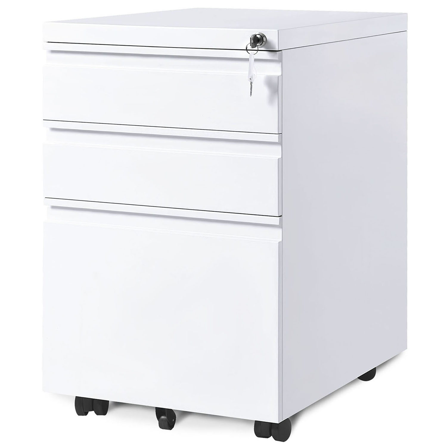 Rolling Filing Cabinet Steel w//Lock Drawer Mobile Storage Organizer Home Office