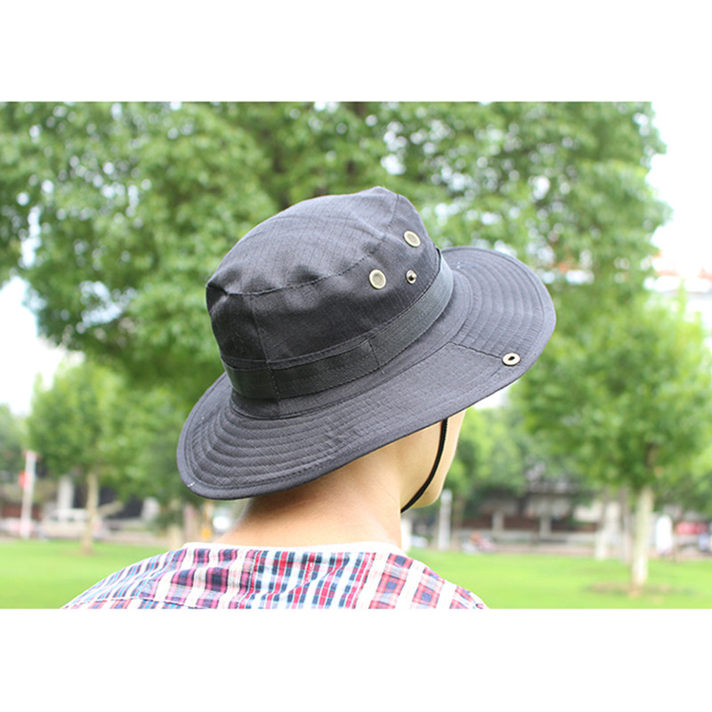 00b0cf84b7b Details about Bucket Hat Boonie Hunting Fishing Outdoor Men Cap Washed  Cotton With Strings S1