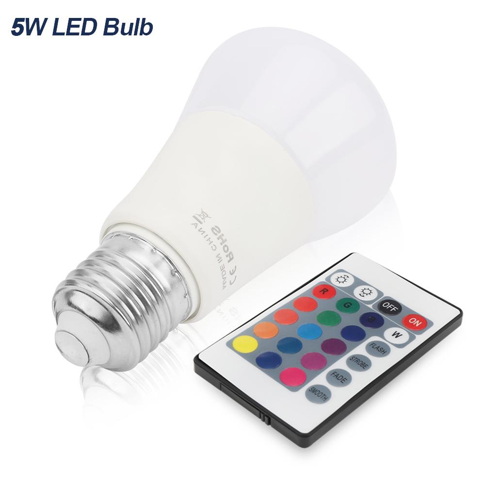 e27 5w rgb led gl hbirne 16 multi farbwechsel magic light bulb mit fernbedienung ebay. Black Bedroom Furniture Sets. Home Design Ideas