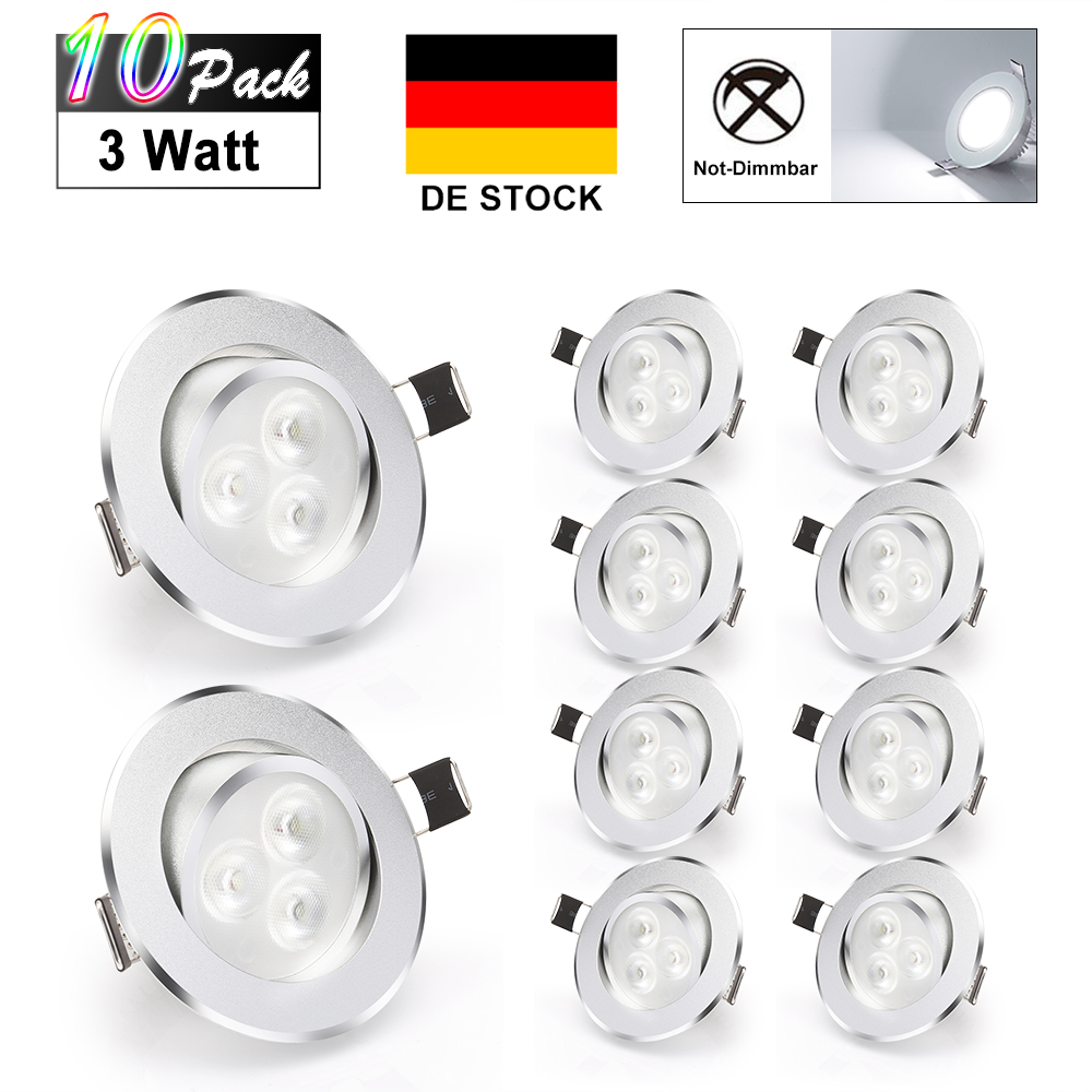 10pcs 3w led einbau deckenlampe nicht dimmbar downlight. Black Bedroom Furniture Sets. Home Design Ideas