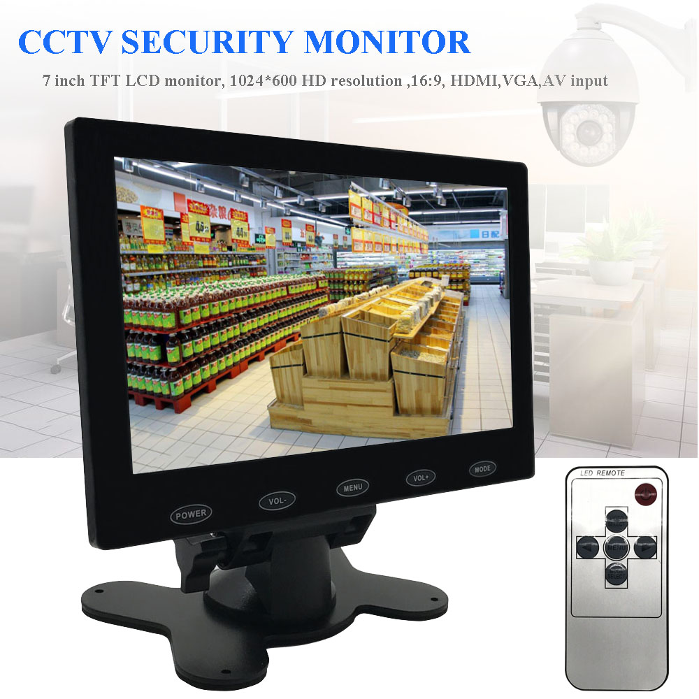 tft lcd 7 inch cctv pc monitor mini hd screen av rca vga. Black Bedroom Furniture Sets. Home Design Ideas