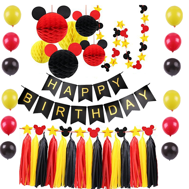 Details about Mickey Theme Birthday Party Supplies Backdrop YELLOW BLACK  RED Party Decor