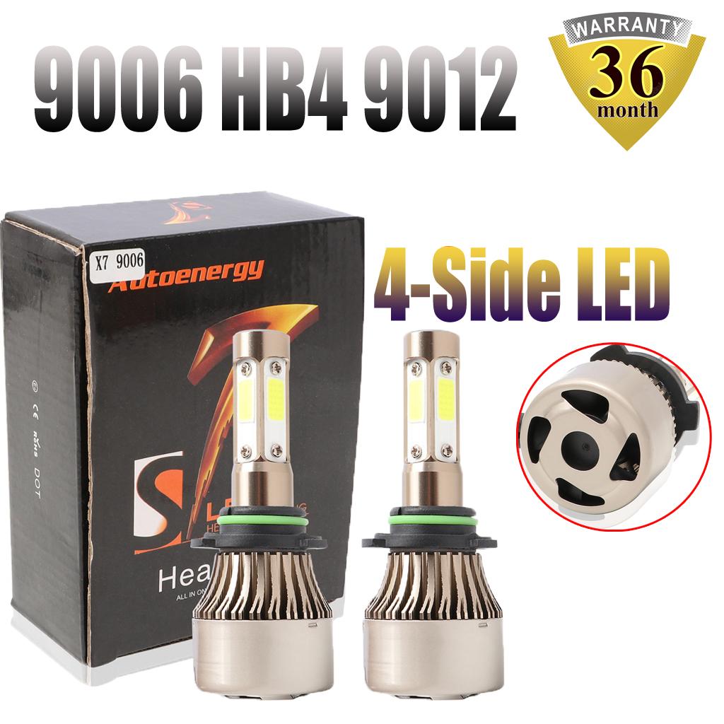 2 Side 9012 HIR2 CREE COB LED Headlight Conversion Light Bulbs Kit 6000K 980W