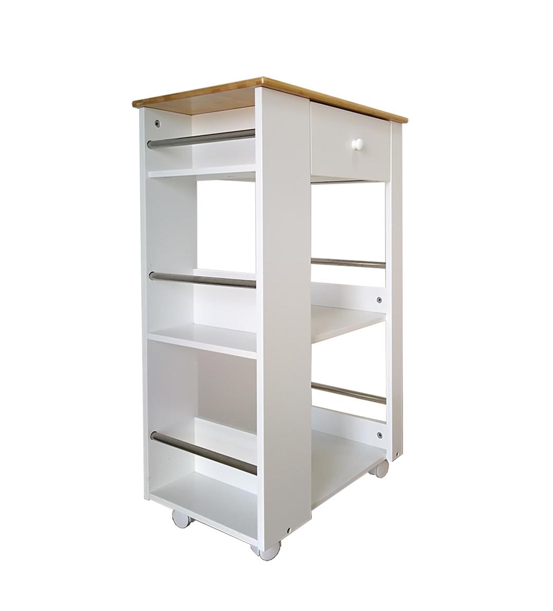 k chenwagen k chenhelfer rollwagen trolley servierwagen wei bambus holz sh32 ebay. Black Bedroom Furniture Sets. Home Design Ideas
