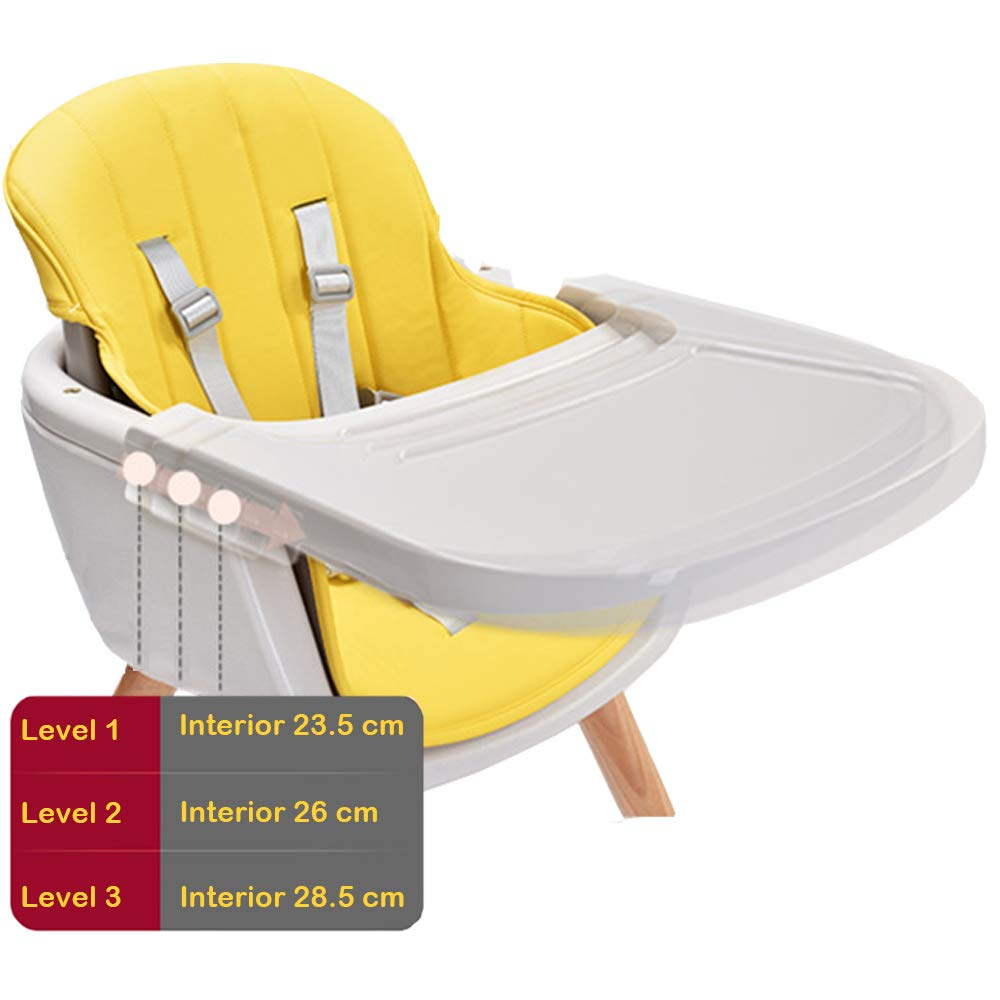 Baby High Chair Wooden Adjustable Tray Children Feeding Seat Kids Food Eating