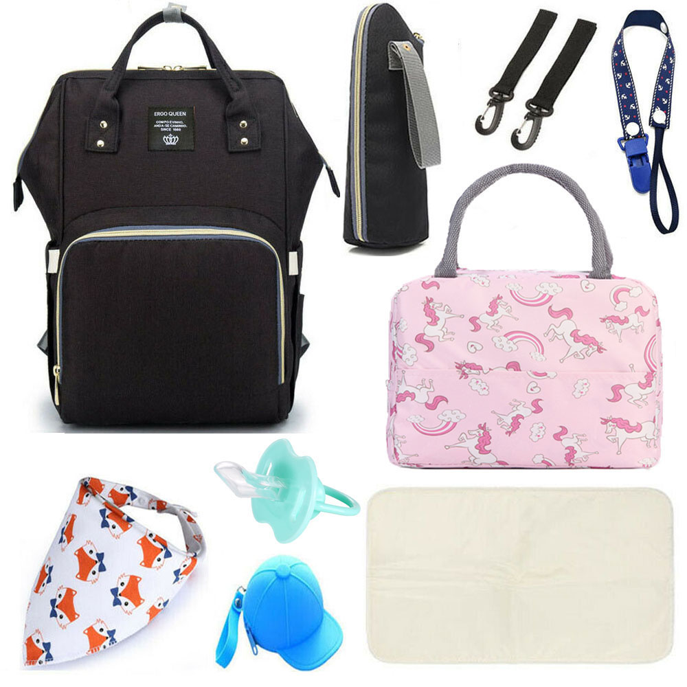 Baby Changing Bag Nappy Handbag Mother Waterproof Kit Newborn Travel Kids Set