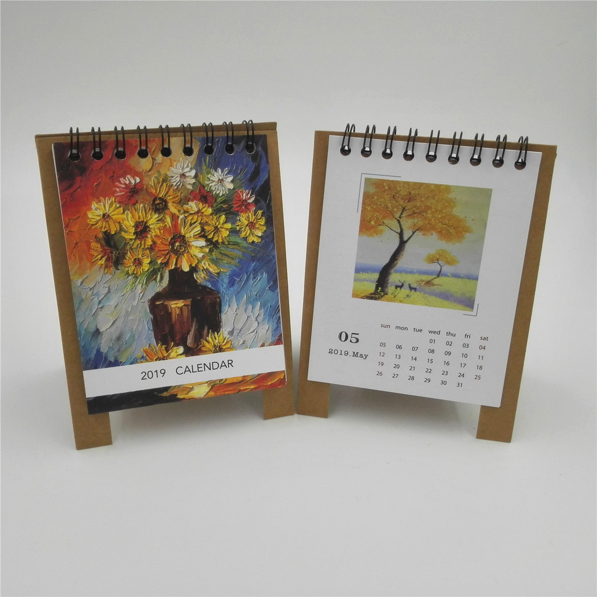 1 pc 2018 2019 17 month small desk calendar table calendar schedule painting