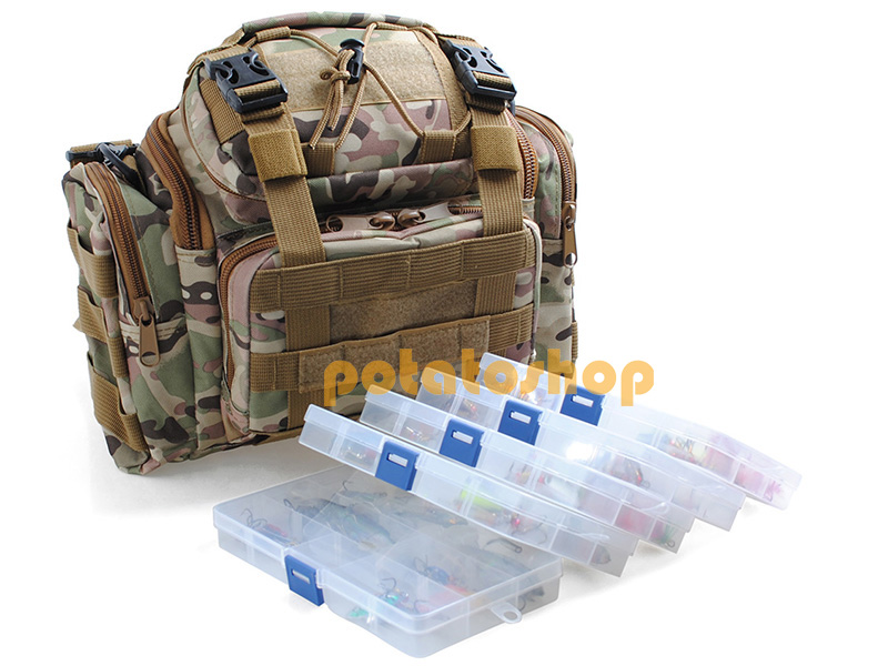 Fishing Tackle Bag Loaded 60 Spoon Lure Crankbait 5 Box Storage Mixed Lot