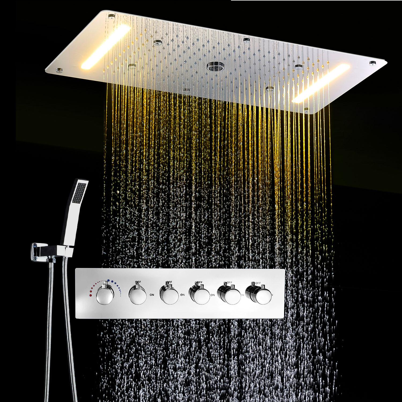 luxus chrom regendusche mit 5 funktion thermostat dusch set unterputz messing ebay. Black Bedroom Furniture Sets. Home Design Ideas