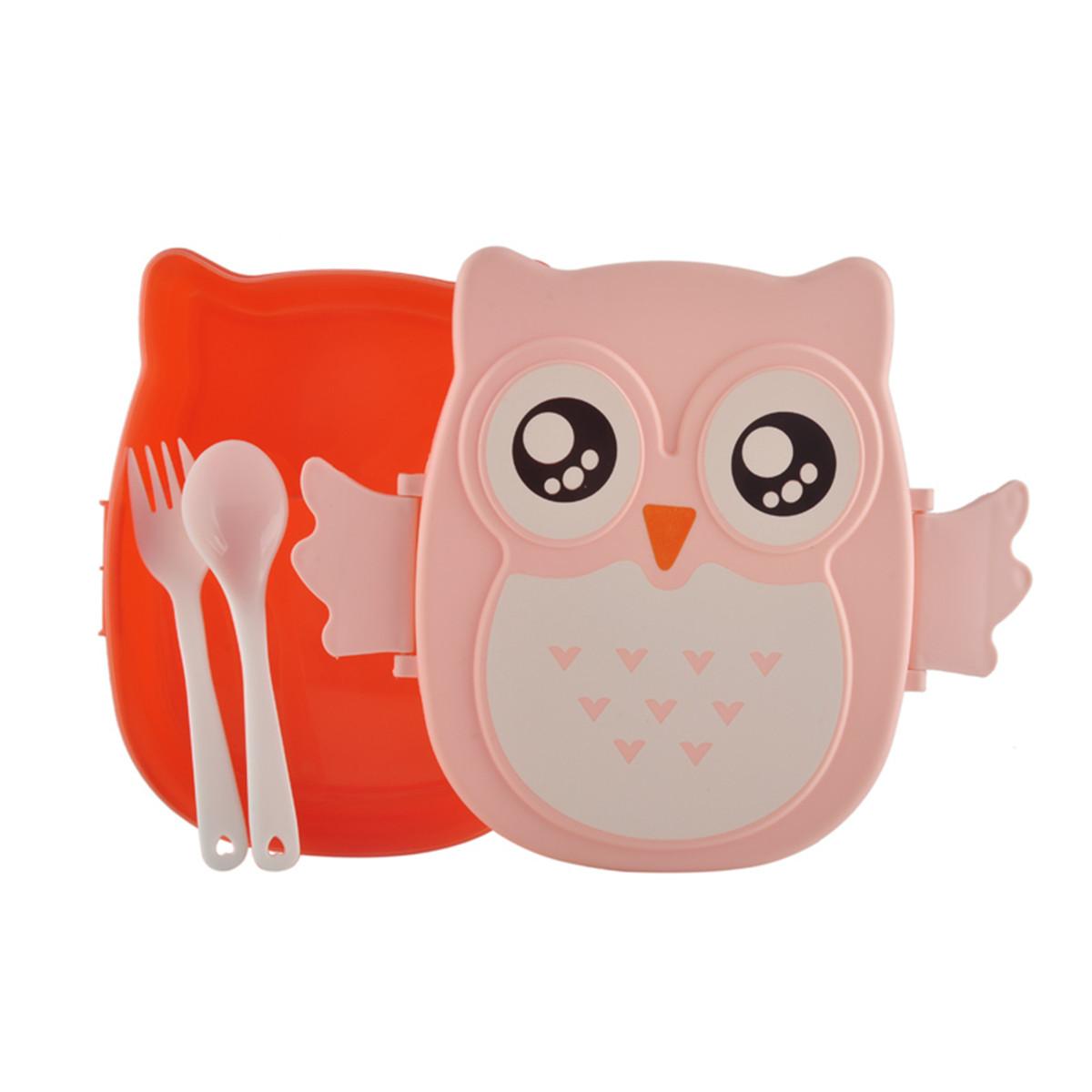Cartoon Owl Kids Baby Lunchbox Bento Portable Food Fruit Storage