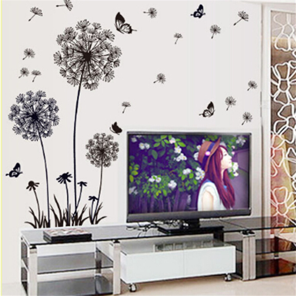 Butterfly Flying Dandelion Wall Decal Sticker Living Room PVC Wall ...