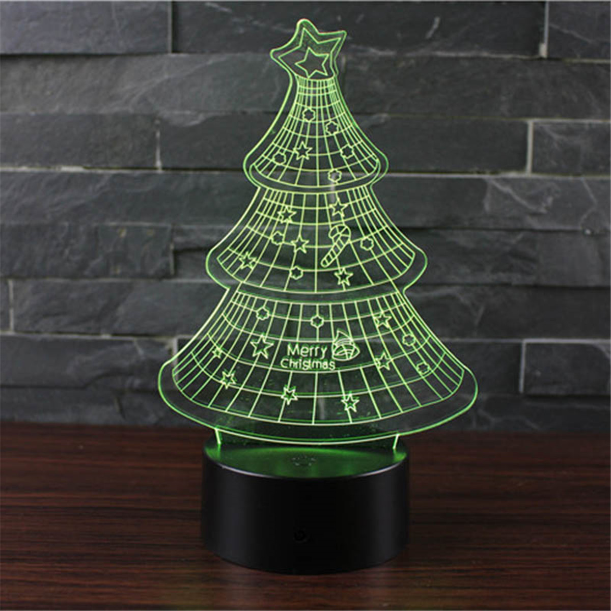 Creative 3D Christmas Tree Illusion LED Night Light 7 Colors ...