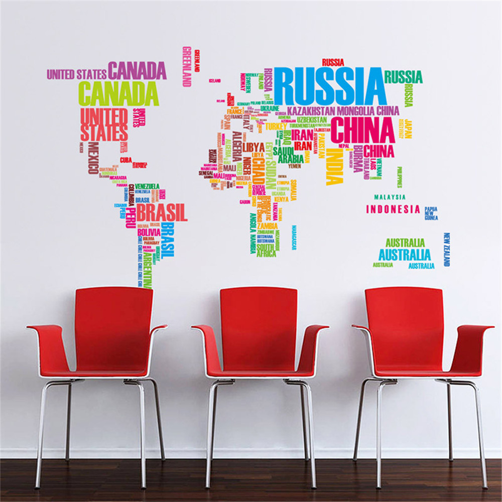 World map wall art vinyl decal stickers home decor diy flower wall world map wall art vinyl decal stickers home decor diy flower wall sticker ebay gumiabroncs Images