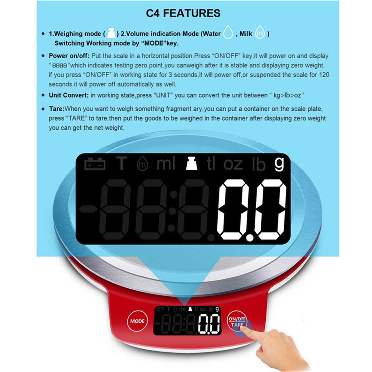GASON Digital Kitchen Scales LCD Display Cooking Food Weight Scale ...