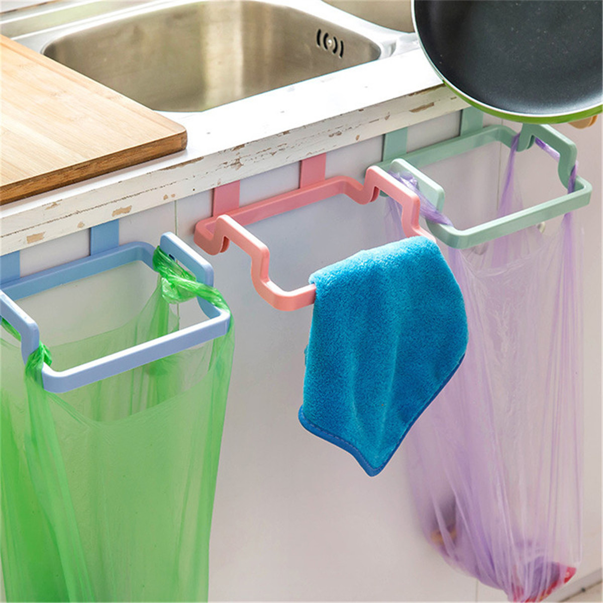 Plastic Hanging Garbage Bag Holder Cabinets Cloth Rack Towel Storage ...