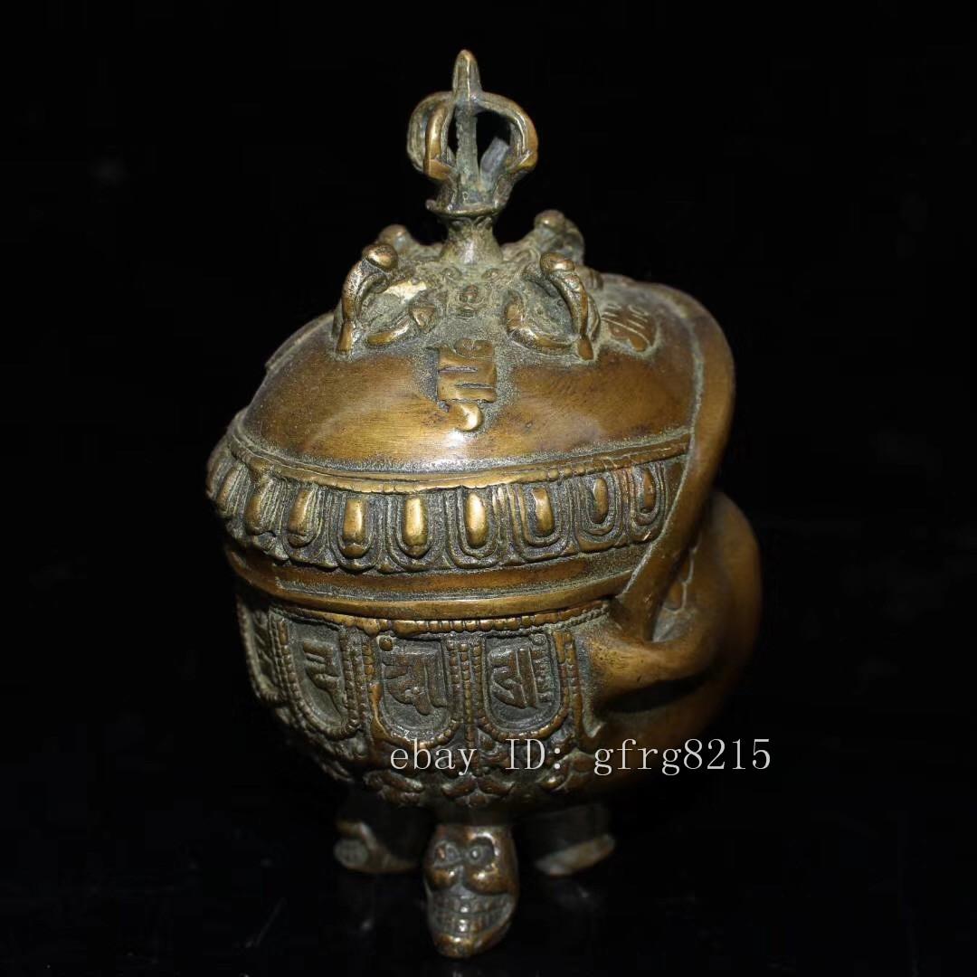 5.2Old China antique mark Pure copper Human skeleton head Incense burner