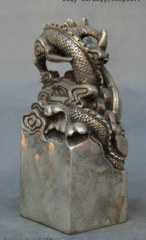 Chinese Silver Dragon Loong God Beast Dynasty imperial Seal Stamp Signet Statue