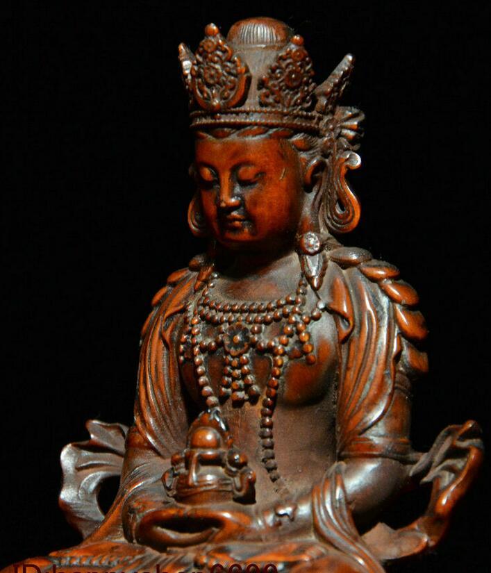 Details about  /Old Tibet Buddhism Boxwood wood Carved Sit Amitayus longevity God Goddess Statue