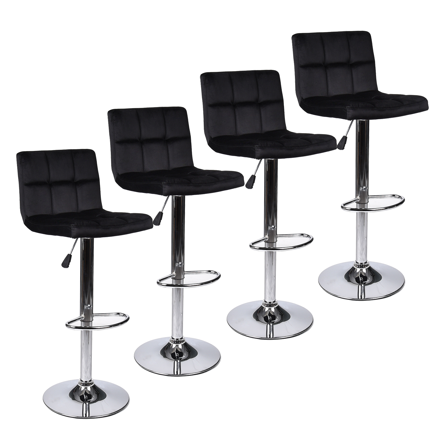 Pleasing Details About Set Of 4 Bar Stools Hydraulic Adjustable Swivel Velvet Fabric Counter Chairs Pub Short Links Chair Design For Home Short Linksinfo