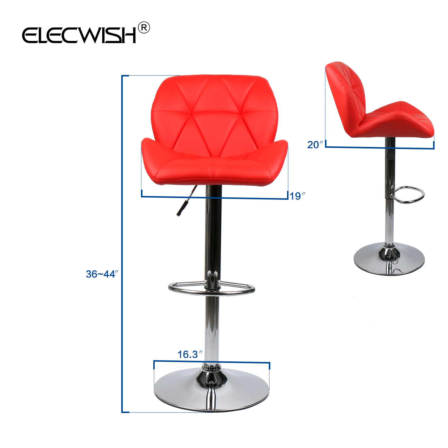 Set Of 2 Bar Stools Countertop Height Adjustable Leather