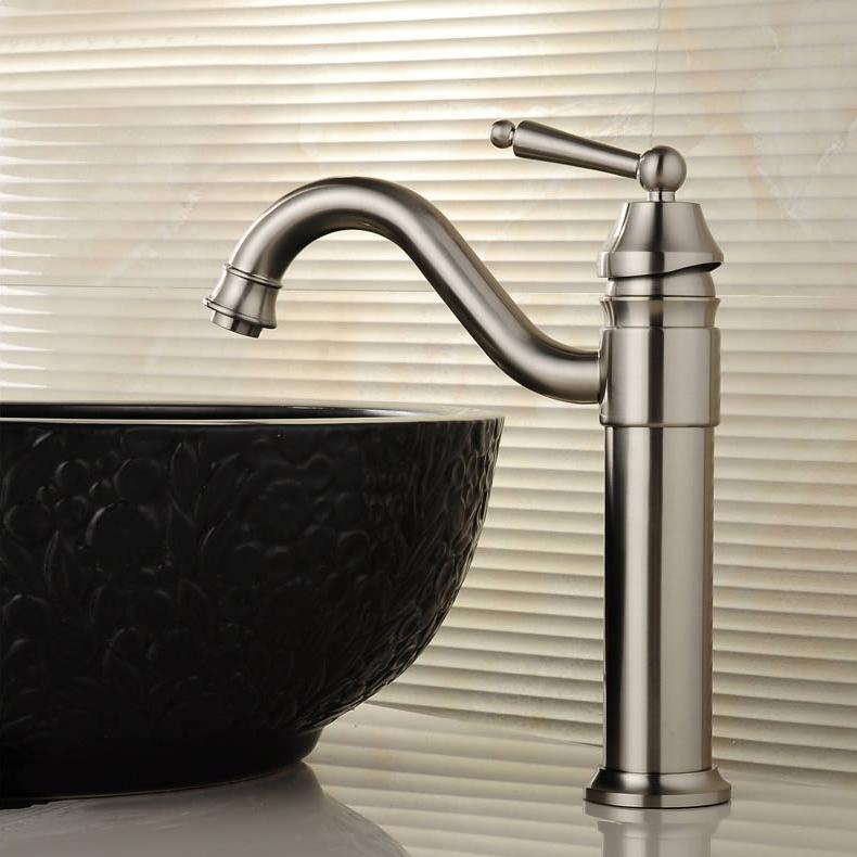 Brushed Nickel Brass Bathroom Vessel Sink Faucet Single Handle Basin ...