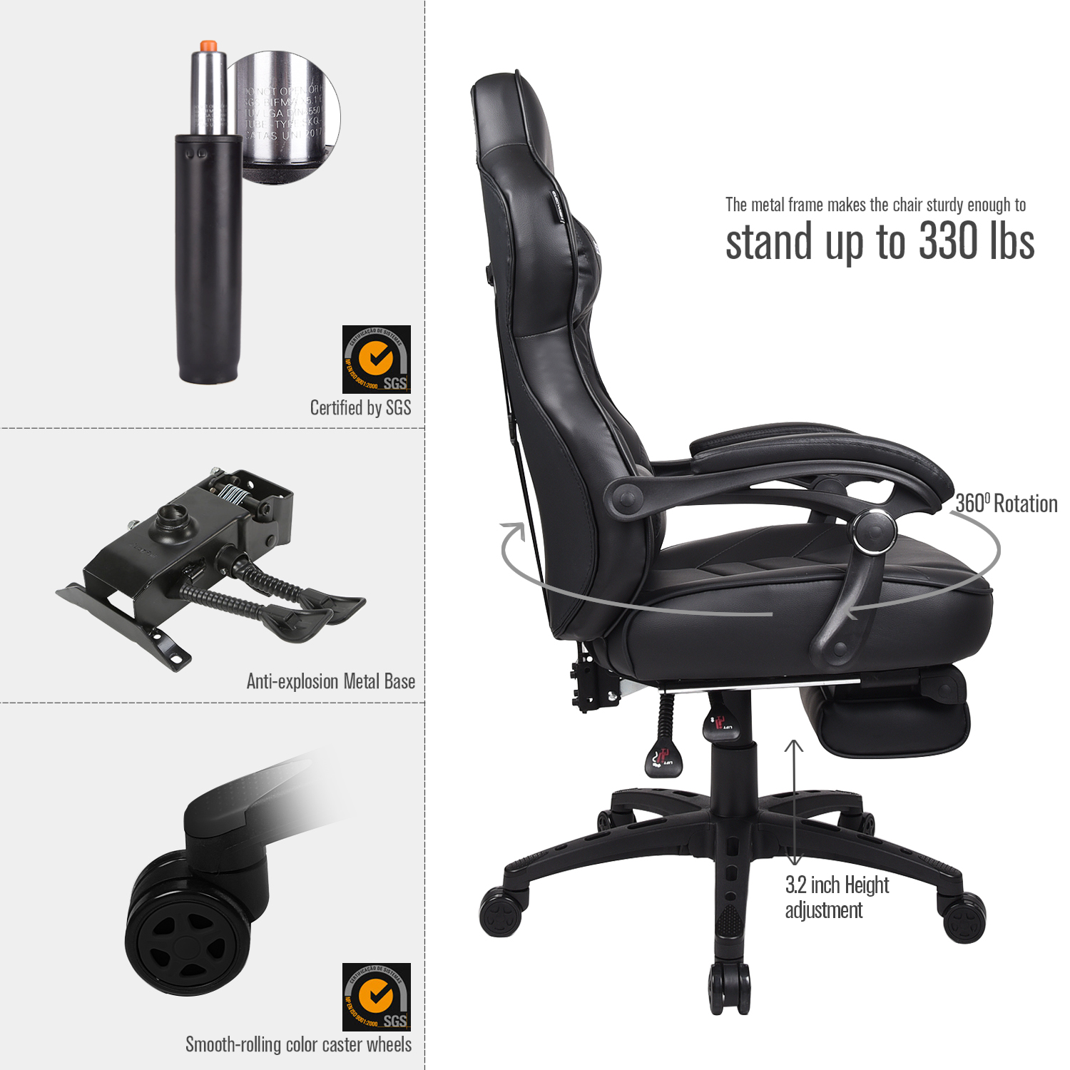 Racing Gaming Chair High Back Ergonomic Recliner Computer Office Seat  Footrest