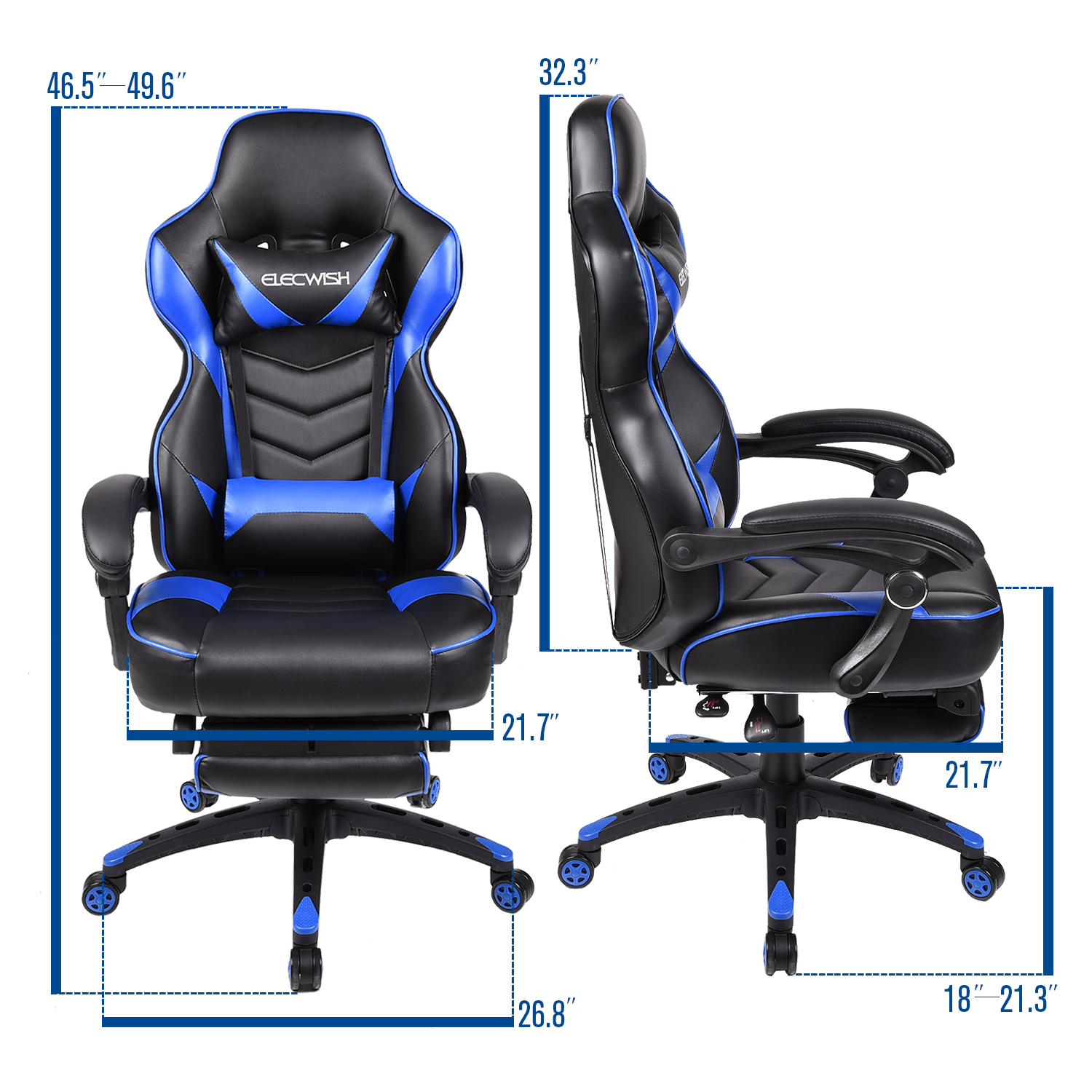 adjustable swivel office products recliner gaming homcom pu executive style racecar chair padded home white