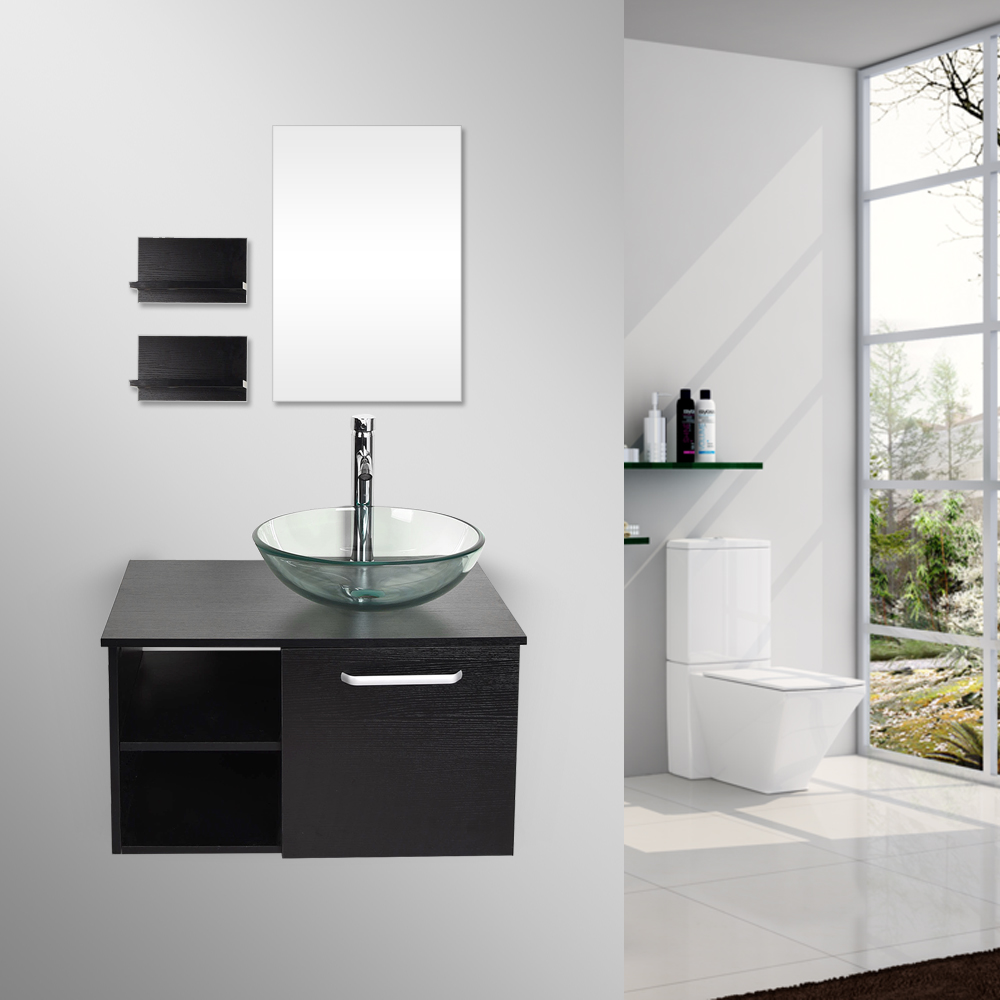 28 Bathroom Vanity Cabinet Floating Wall Mount Vessel Sink Faucet Drain Combo