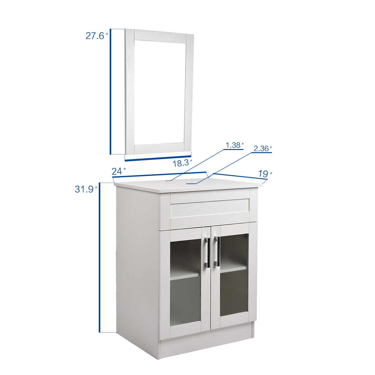 Details About 24 Inch Bathroom Vanity Set Wood Cabinet Vessel Gl Sink Faucet Mirror Combo