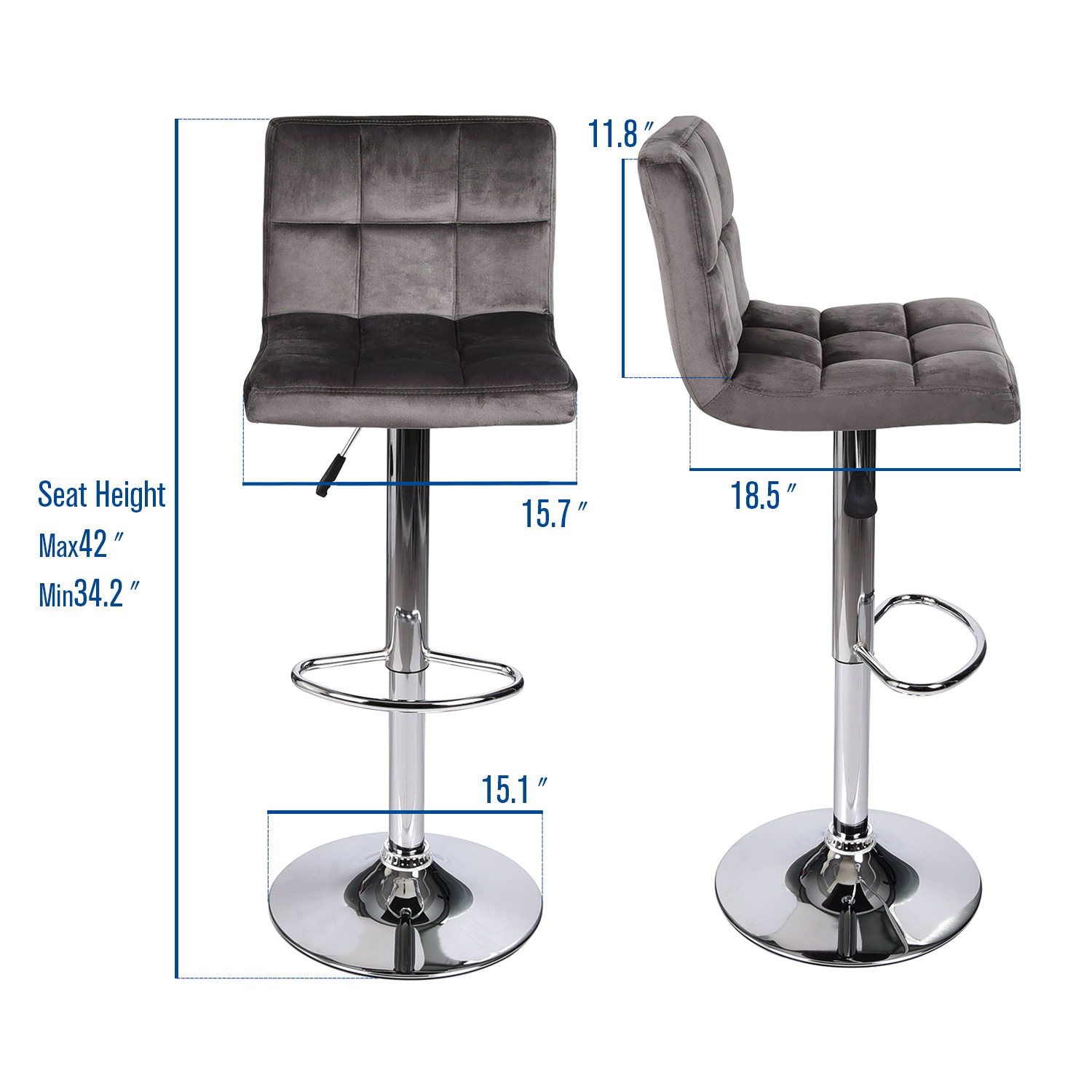 Surprising Details About Set Of 2 Bar Stool Velvet Fabric Swivel Hydraulic Adjustable Counter Chair Gray Theyellowbook Wood Chair Design Ideas Theyellowbookinfo