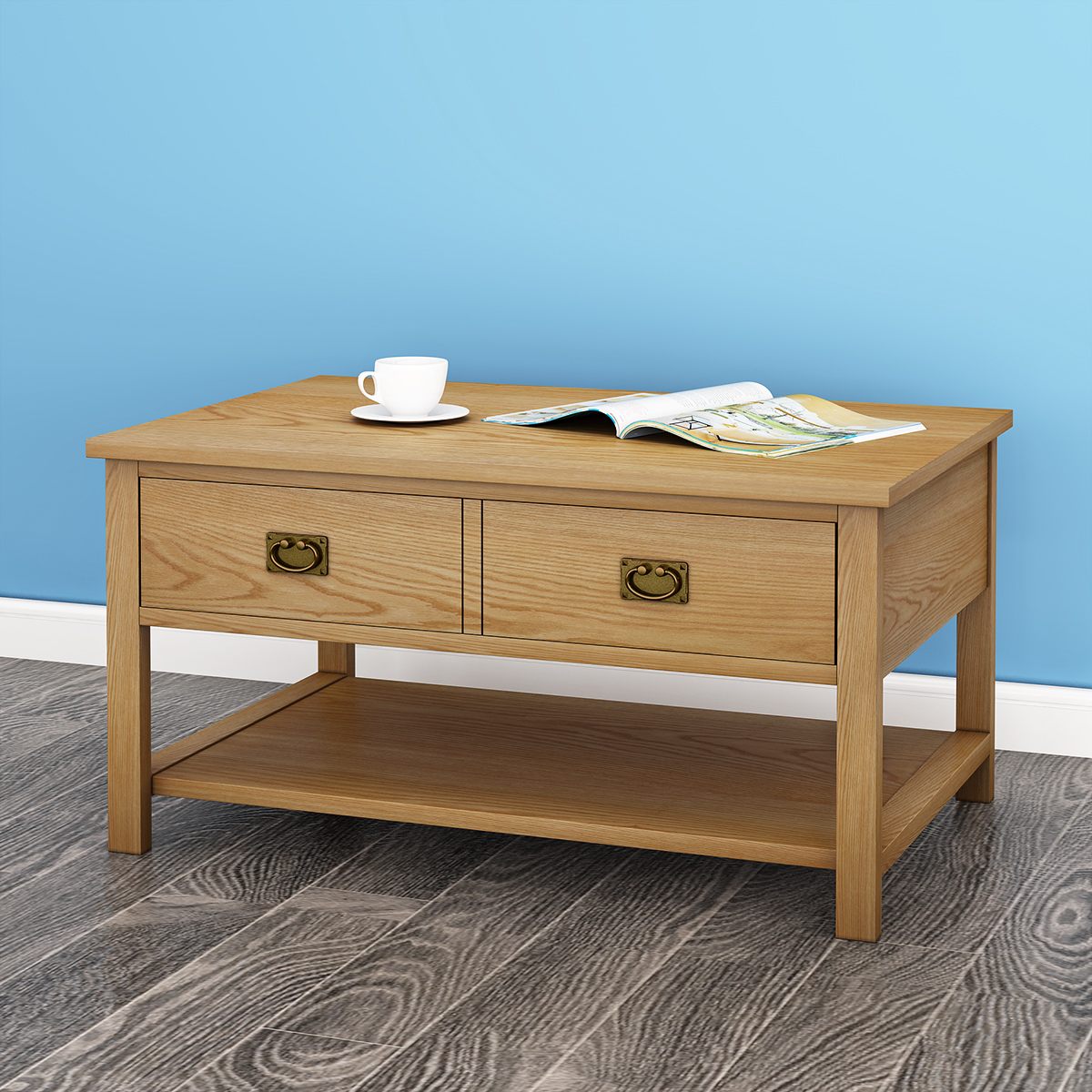 Modern Solid Wood Oak Coffee Table With Both Side Open Drawers And Shelf Uk