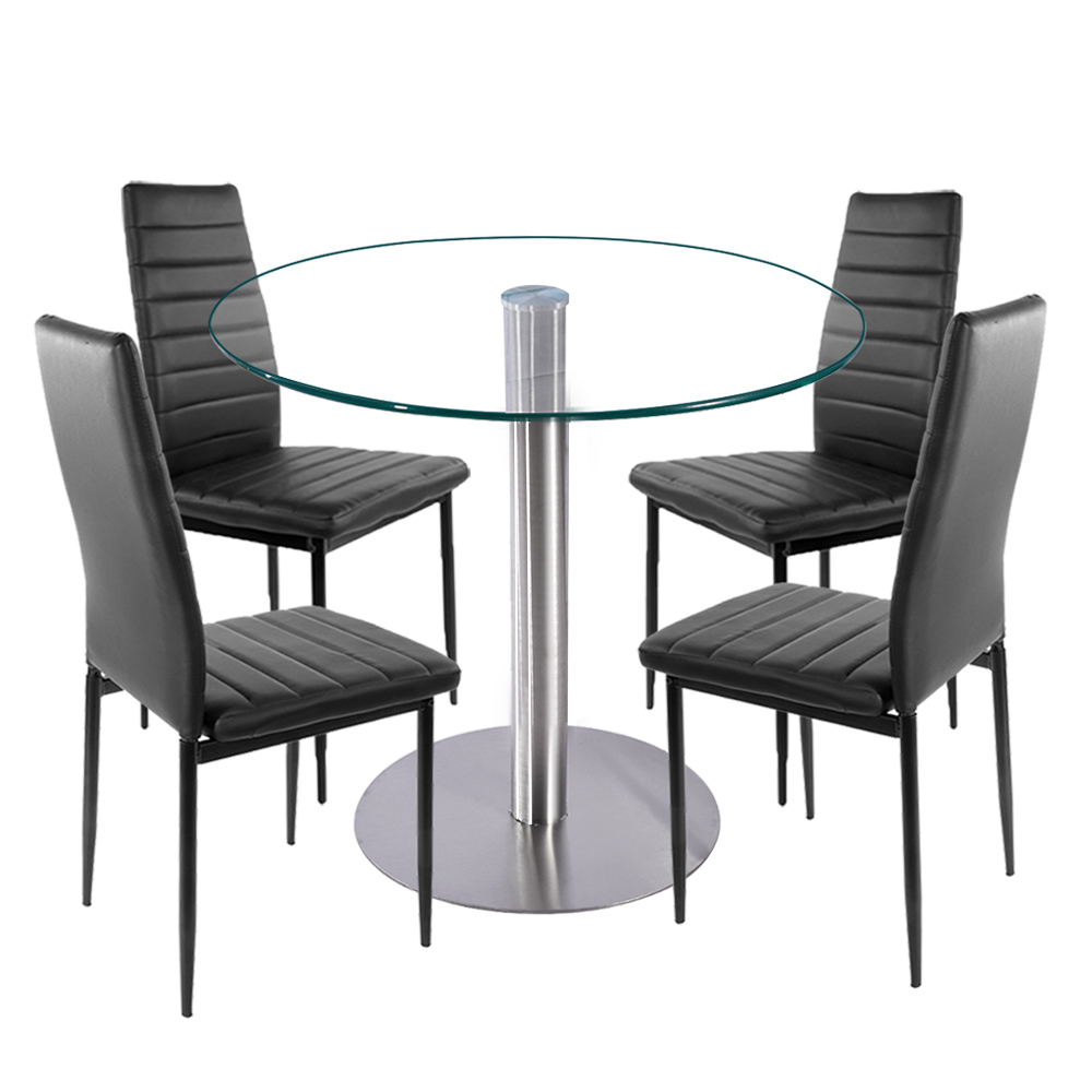 80cm Clear Glass Round Dining Table Set With 4 Faux Leather Chairs Black Kitchen