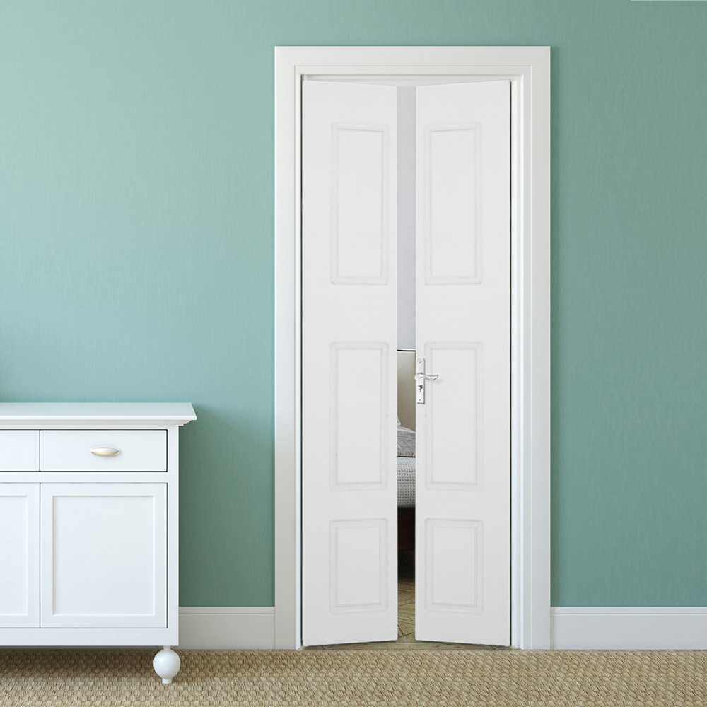 New Moulded 6 Panel Bifold Doors White Primed Internal Folding Bi ...