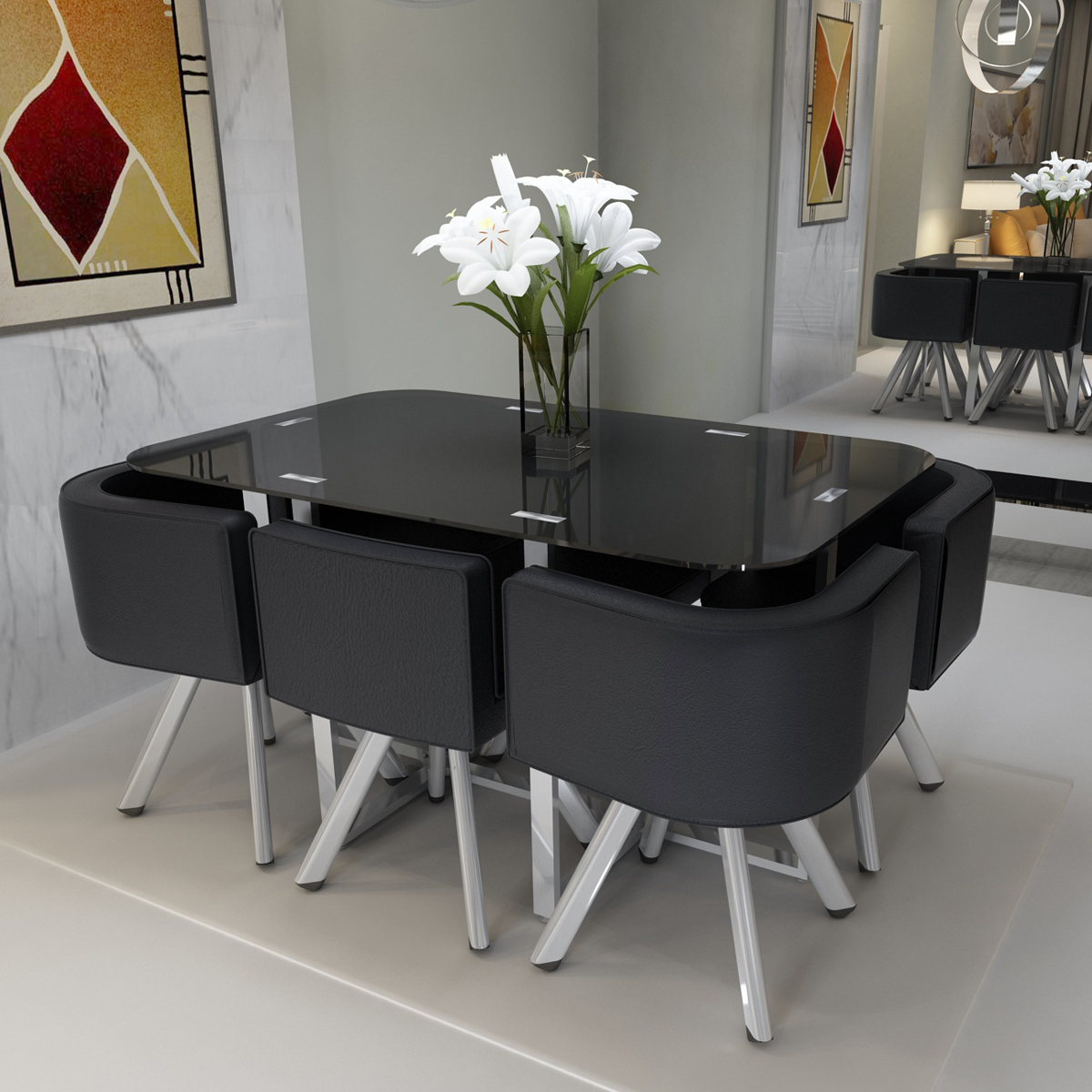 high glass dining table w 4 6 pu leather chairs set round. Black Bedroom Furniture Sets. Home Design Ideas