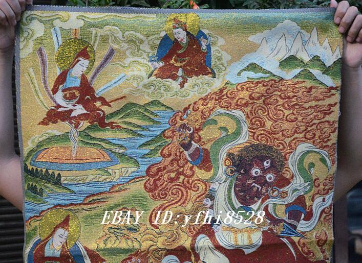 "36/"" Tibet Buddhism Silk Cloth Mahakala Tiger Buddha Thangka Painting Mural 22"