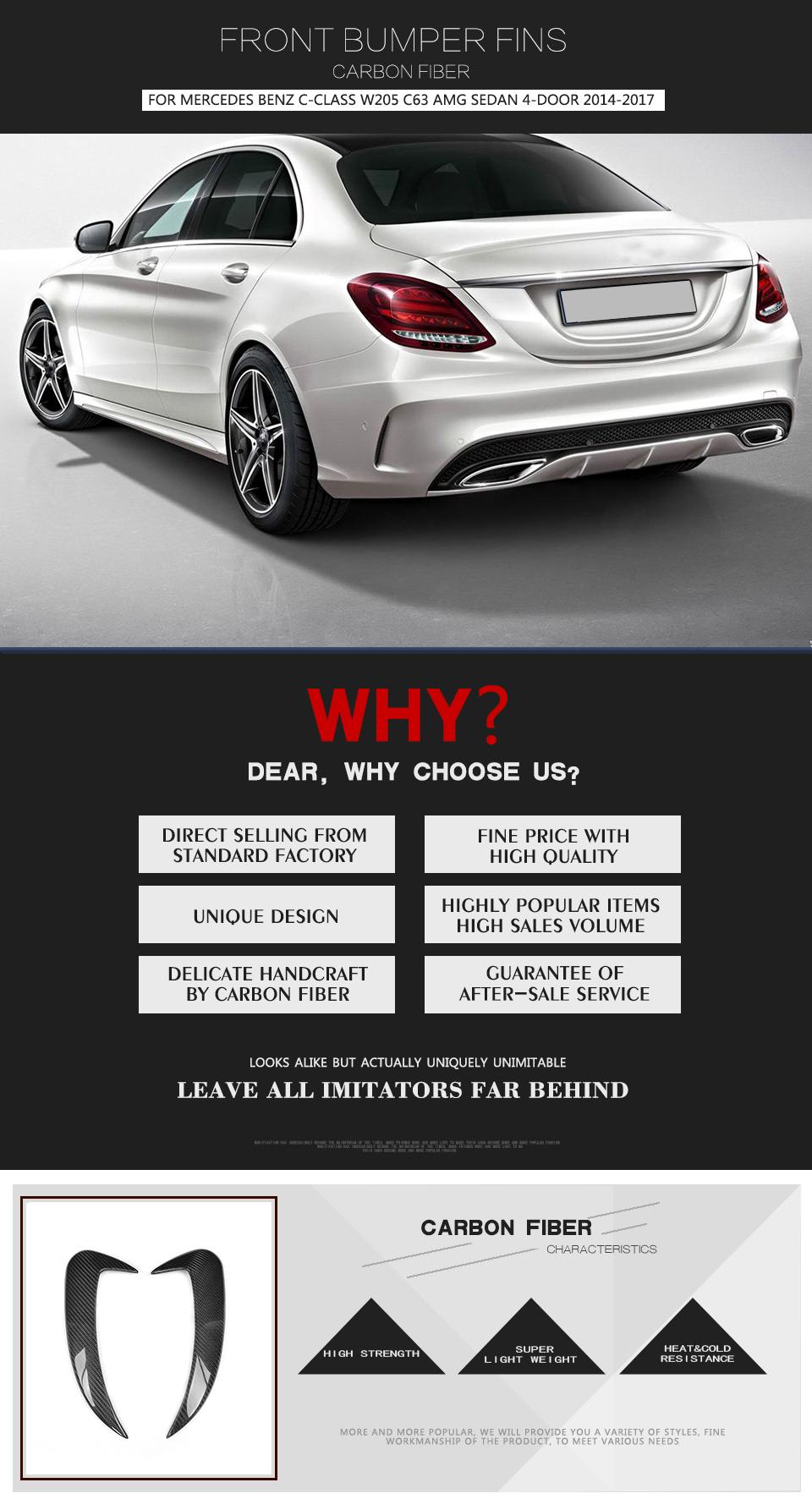 Carbon C63 Front Rear Vents Fins Trim Factory Fit for Benz W205 C63AMG 4D 15-17