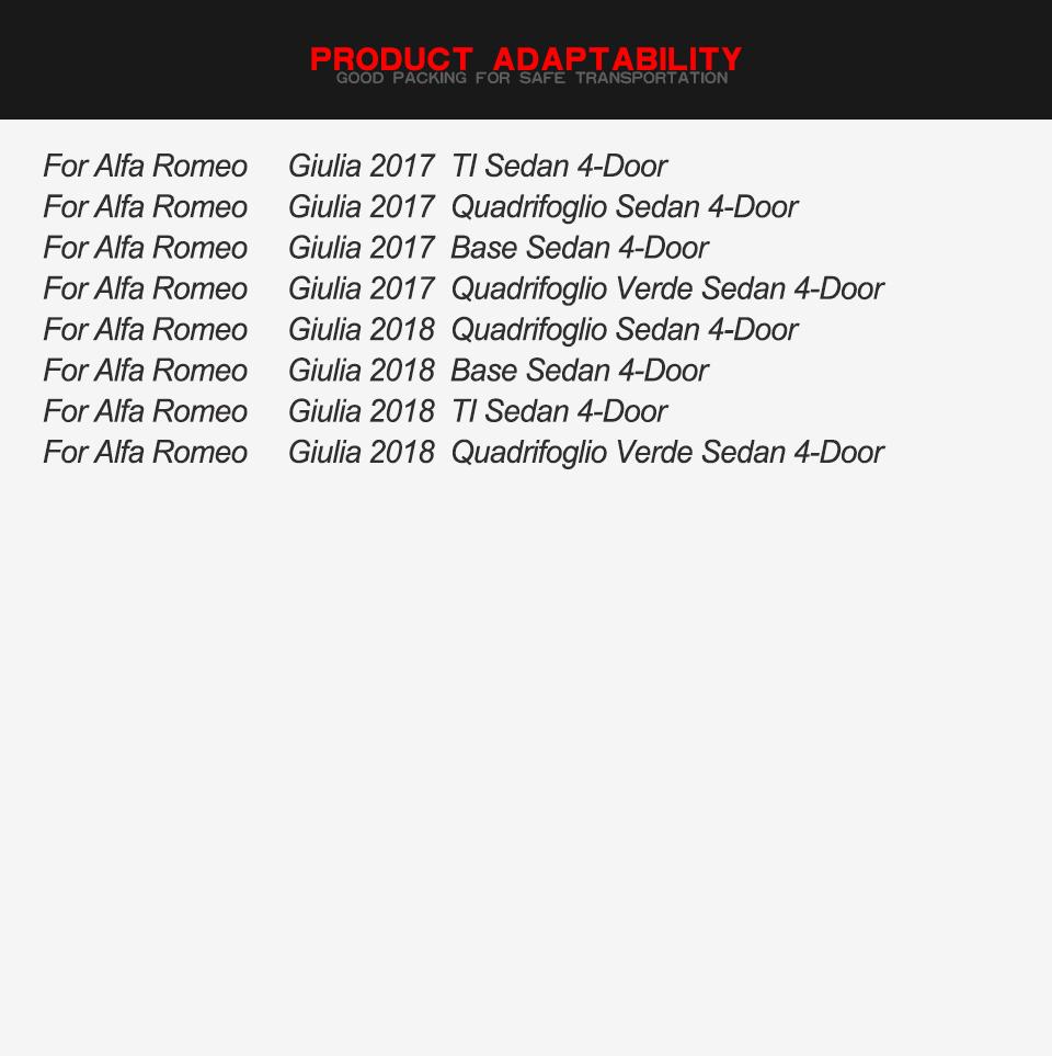2PCS Side Mirror Cover Cap For Alfa Romeo Giulia 2015-2018