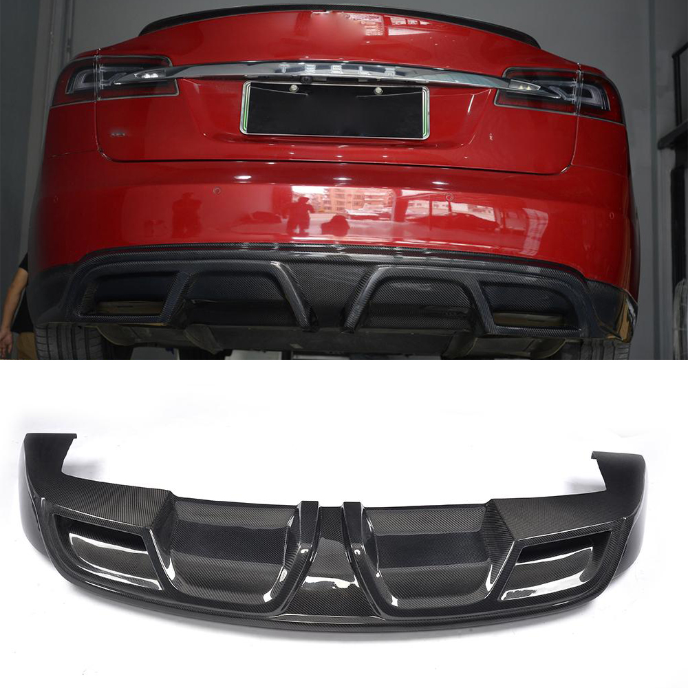 Details about Carbon Fiber Car Rear Bumper Diffuser Lip Factory Refit For  Tesla Model S 12-15