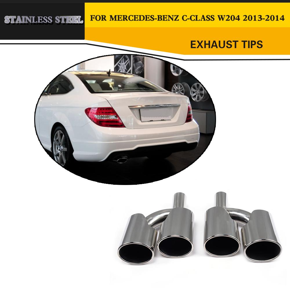 Details about Exhaust Tips Muffler Ends for Mercedes Benz W204 C63 AMG  13-14 Stainless Steel