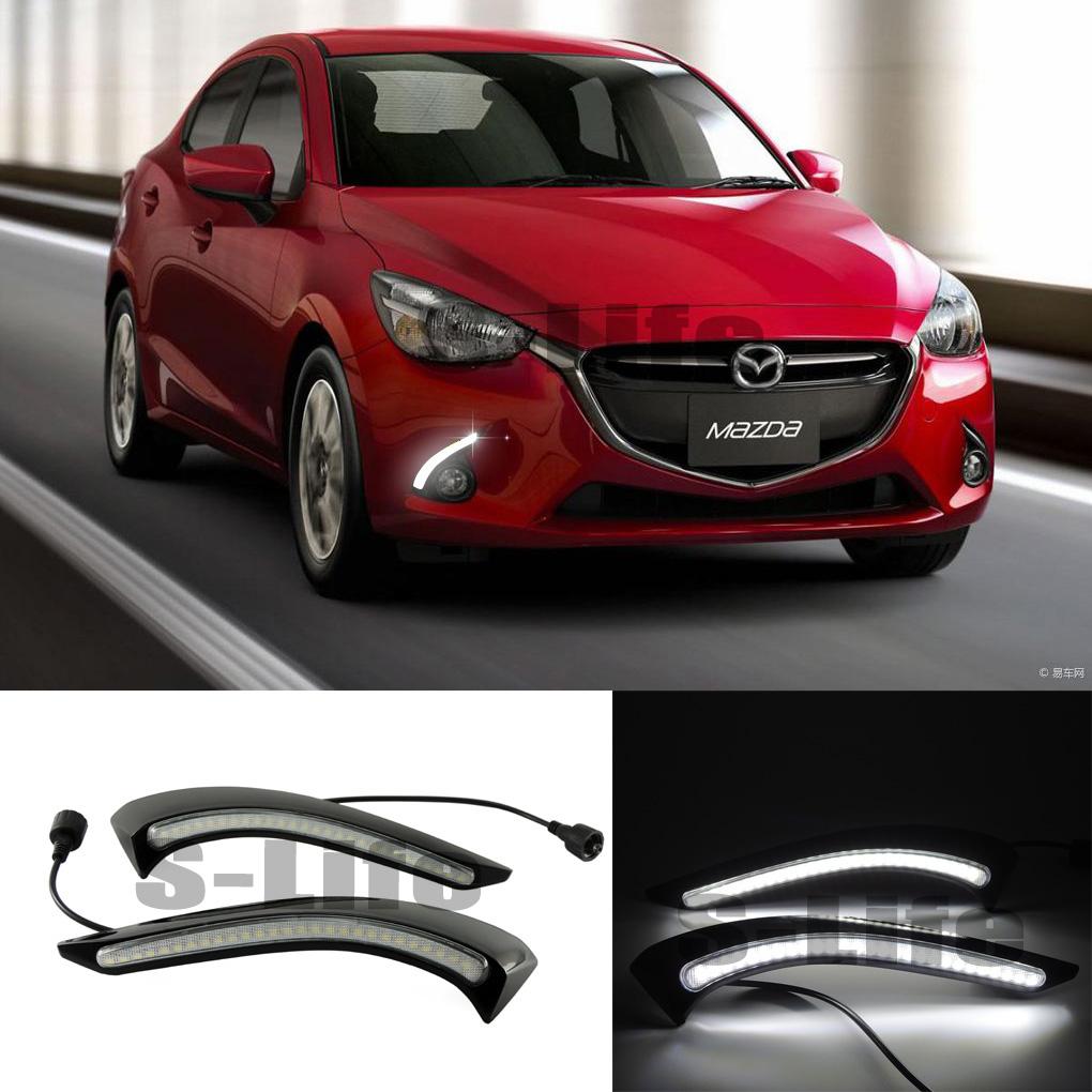 For Mazda 2 2015-2017 2PCS White LED DRL Daytime Running Light  Driving lamp