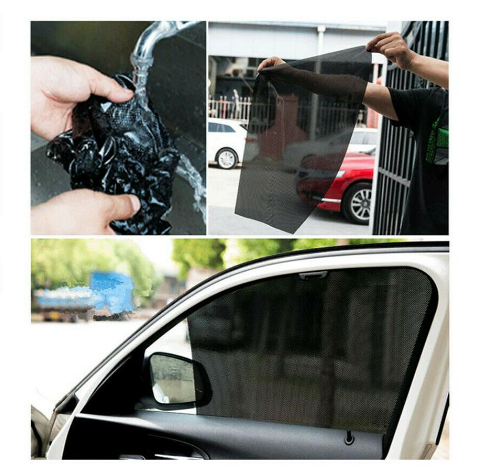 4 x Car Window Sun Shade Cover Static Cling Screen 16.5/'/'x15/'/' Reusable Washable