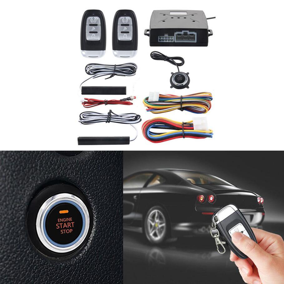 PKE Car Alarm System Passive Keyless Entry Push Button Start/Stop ...
