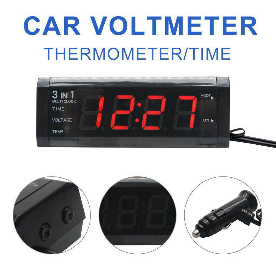 3 in1 LED Digital Monitor Voltmeter Thermometer for DC 12V Car Truck Clock